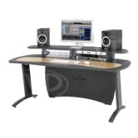 AKA Design ProMedia Editing Desk - Studio Furniture in Either Graphite Grey and Crown Oak Veneer or Royal Blue and Crown Maple